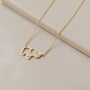 Dainty Elephant Necklace   14k Gold Plated